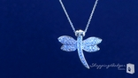 "CZ Pave Dragonfly Pendant Necklace in Sterling Silver, Adjustable 17""-19"""