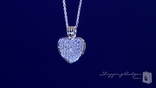 "Small Sterling Silver Pave CZ Heart Necklace, Adjustable 16""-18"""