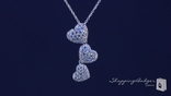 "CZ Triple Heart Drop Pendant Necklace in Sterling Silver, Adjustable 16""-18"""
