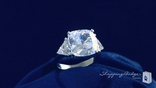3-Stone Cushion Cut CZ Ring in Sterling Silver, Sizes 5-9