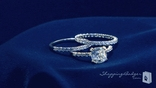 Cushion Cut CZ Solitaire 3 Piece Ring Set in Sterling Silver, Sizes 6-9