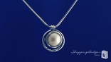 """Circle Pearl Pendant Necklace in Sterling Silver, 16"""""""