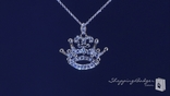 "Pave CZ Fleur de Lis Crown Pendant Necklace in Sterling Silver, Adjustable 16""-18"""