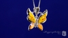Millefiori Murano Glass Yellow Butterfly Necklace in Sterling Silver, 16