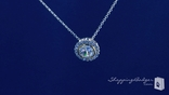 "Two Tone Round Solitaire CZ Pendant Necklace in Sterling Silver, Adjustable 16""-18"""
