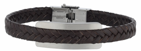 Men's Woven Brown Leather Bracelet