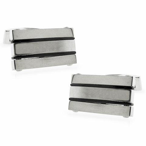 Triple Bar Cufflink with Black Onyxite