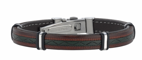 Men's Brown Leather Bracelet with Geometric Bands