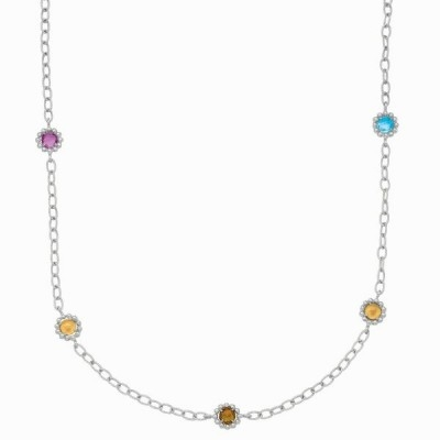Phillip Gavriel Multi Gem Gold and Silver Necklace, 17