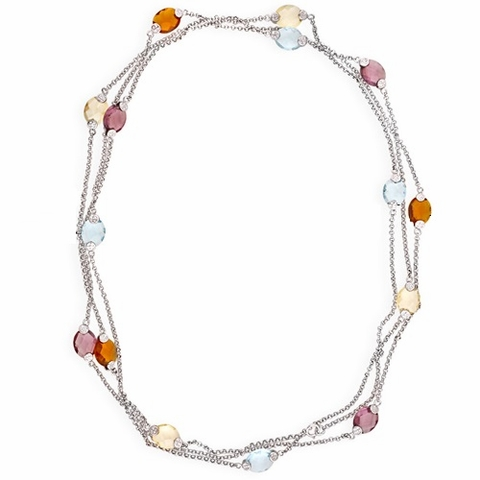 Multi-colored Flat Glass Beaded Diamond by the Yard Necklace, 16