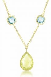 Lemon Quartz and Blue Topaz Sterling Silver Necklace, 16