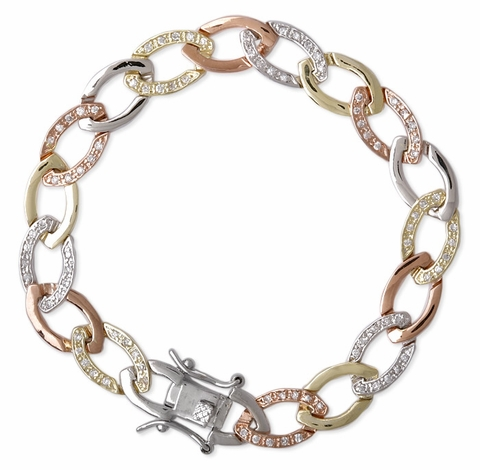Oval Brushed CZ Tri-color Link Bracelet