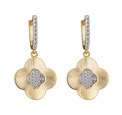 CZ Vermeil Hammered Flower Drop Earrings