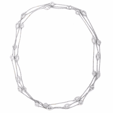 Designer Silver CZ by the Yard Necklace, 16