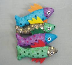 "3"" Sequin Fish w/ Catnip 4/pk"