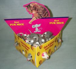 "2"" Fur Mouse in Cheese Box 48/box"
