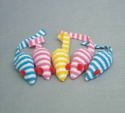 "2"" Striped Mice w/ Rattle"