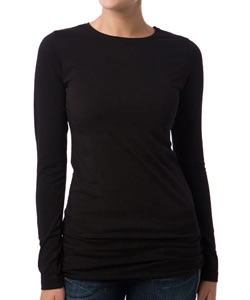Long Sleeve Crew Neck Maternity Tee in Black