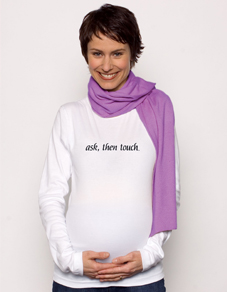 """Ask, Then Touch ""  Long Sleeve Maternity Tee in White"