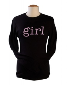 """Girl"" Long Sleeve Maternity Tee in White w/ Pink(not shown)"