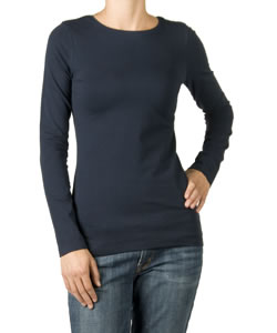 Long Sleeve Cotton Crew Neck Maternity Tee in Navy