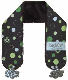 LatchOn Nursing Blanket Strap, Green Dots, Minky