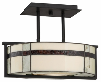 Quoizel TFLU1716K Luxe Transitional 16 inch Diameter 3-Light Mystic Black Ceiling Light Fixture