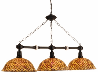 Meyda Tiffany 69837 Amber Fishscale 3 Light Tiffany Island Hanging Lighting Fixture