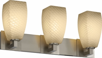 Justice Design FSN892360 Modular Fusion Tall Tapered Square Contemporary Three-Light Bathroom Lighting