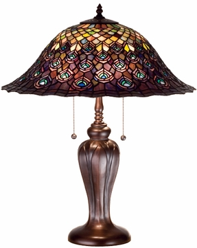 Meyda Tiffany 26666 Peacock 20 inches wide Tiffany Table Lamp