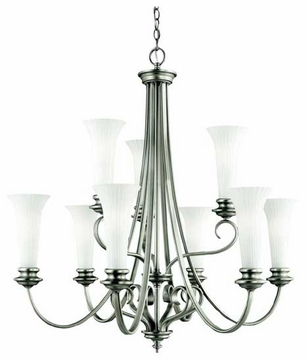 Kichler 42153BPT Abbeyville 9-Lamp Chandelier in Brushed Pewter
