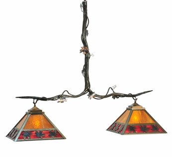 Meyda Tiffany 111207 Rustic Woodlands Maple Leaf Two-Light Island Pendant