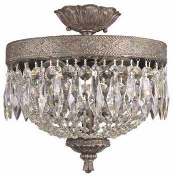 Trans Globe 8392 Rhett Crystal Semi-Flush Ceiling Light