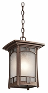 Kichler 49452AGZ Soria Outdoor 14 Inch Tall Aged Bronze Finish Craftsman Hanging Lamp