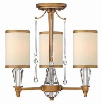 Fredrick Ramond 44501BBZ Bentley 3-light Semi Flush Mount Lighting Fixture with Crystal Accents