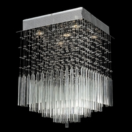 Worldwide W33261C16-CL Torrent Square Large Clear Crystal Overhead Light Fixture