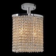 Worldwide W33762C10 Prism 10 Inch Wide Oval Crystal Semi Flush Light - Small