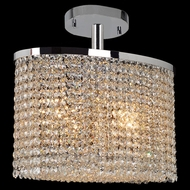Worldwide W33763C16 Prism Crystal 16 Inch Wide Oval Semi Flush Mount Lighting - Medium