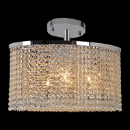 Worldwide W33764C20 Prism Oval Semi Flush Crystal 20 Inch Wide Ceiling Light Fixture