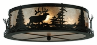 Meyda Tiffany 113621 Elk At Dusk Silver Mica 22 Inch Diameter Flush Lighting Fixture