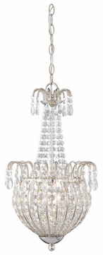 Quoizel JLE2812IS Jolene Silver 3 Light Classic 22 Inch Tall Crystal Pendant Light