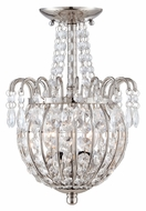 Quoizel JLE1709IS Jolene Imperial Silver Finish 13 Inch Tall Crystal Ceiling Light
