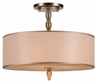 Crystorama 9505-AB Luxo Large Antique Brass 18 Inch Diameter Semi Flush Ceiling Light With Gold Silk Shade