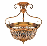 Crystorama 89-PB-CL-MWP European Classic Polished Brass 18 Inch Diameter Semi Flush Ceiling Light Fixture