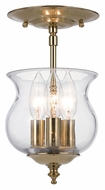 Crystorama 5715-PB Ascott Polished Brass Finish 3 Candle Transitional Semi Flush Lighting