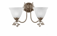Crystorama 6202-AB Charleston 17 Inch Wide Traditional Antique Brass 2 Lamp Wall Light Fixture