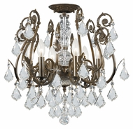 Crystorama 5115-EB-CL-MWP Regis 6 Candle English Bronze Finish Clear Crystal Ceiling Lighting