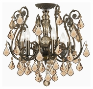 Crystorama 5115-EB-GT-MWP Regis English Bronze Golden Teak Crystal 20 Inch Diameter Ceiling Lamp