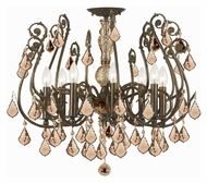 Crystorama 5118-EB-GT-MWP Regis Semi Flush Mount 24 Inch Diameter English Bronze Ceiling Lighting - Golden Teak Crystal