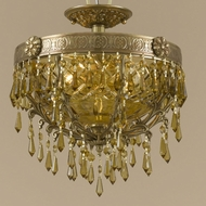 Crystorama 5175-AG-GT-MWP Regal Golden Teak Crystal Semi Flush Mount Aged Brass Overhead Lighting